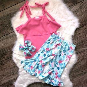 Girl Boutique Flamingo Capri Outfit Set